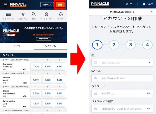 PINNACLE(ピナクル)の登録手順