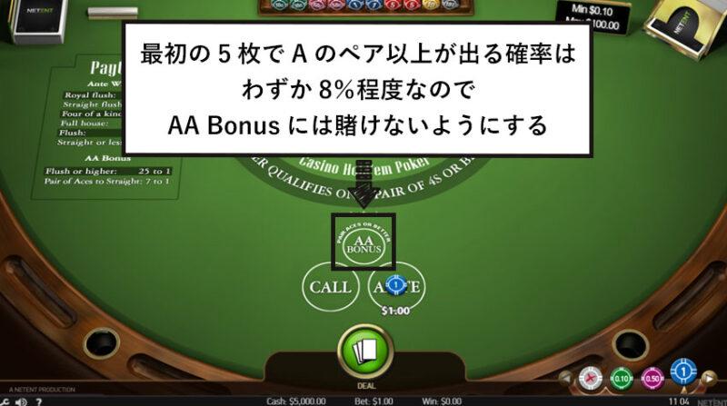 AA Bonusには賭けないようにする