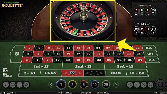 ヨーロピアンルーレットの賭け手順2
