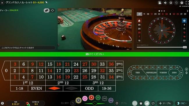 グランドカジノルーレットのテーブル