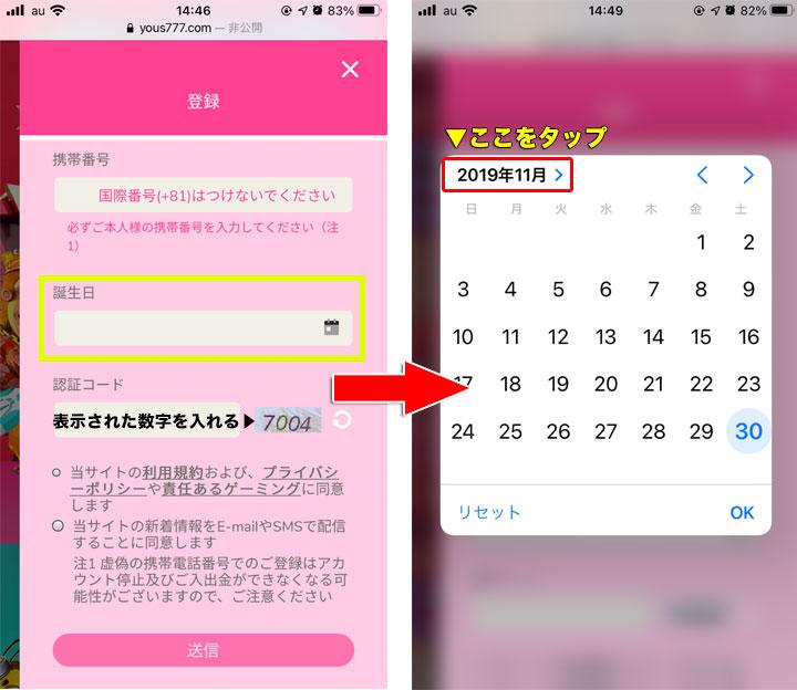 誕生日のカレンダーの入力方法 ユースカジノ